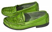 pic of loafers  - Lime color men genuine leather shoes on white background - JPG