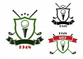 Постер, плакат: Golf emblems with shields balls and clubs