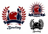 ������, ������: Bowling retro emblems with balls and ninepins