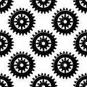 picture of spurs  - Machine gears and pinions black silhouettes seamless pattern of spur cogwheels on white background for industrial design - JPG