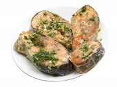 picture of salmon steak  - grilled salmon steaks on the plate - JPG