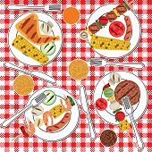 picture of bbq party  - Barbecue food in plates on table - JPG