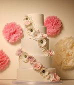 pic of ombres  - Capture of white wedding cake with roses - JPG