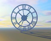 stock photo of surreal  - abstract surreal background with clock sky and shadow passing time ymbol - JPG