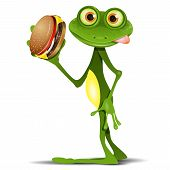 image of amphibious  - Illustration merry green frog with a delicious cheeseburger - JPG