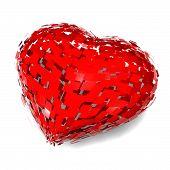 stock photo of broken heart  - broken heart divorce concept with 3d heart illustration - JPG