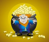 pic of pot gold  - Vector illustration of an evil leprechaun guarding a pot of gold - JPG