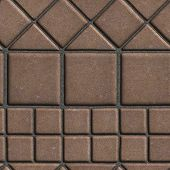 image of paving  - Brown Paving Slabs of the Figures Different Geometrical Shape - JPG
