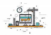 Website Construction Line Style Illustration poster