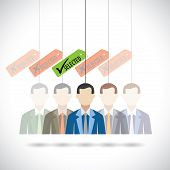 picture of recruiting  - flat vector design of selection of candidate for job in company - JPG
