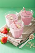 stock photo of oats  - healthy strawberry oat smoothie - JPG