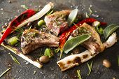 picture of leek  - Lamb chops cooked on the grill with leek and red pepper - JPG