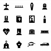 pic of funeral  - Vector black funeral icon set on white background - JPG