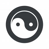 picture of ying yang  - Image of ying yang symbol in black circle - JPG