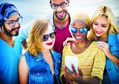stock photo of bonding  - Diverse Summer Friends Fun Bonding Smart Phone Concept - JPG