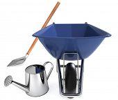 stock photo of wheelbarrow  - Garden tools - JPG