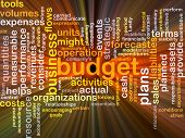 image of budget  - Background concept wordcloud illustration of budget glowing light - JPG