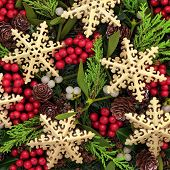pic of mistletoe  - Christmas abstract background with gold snowflake bauble decorations - JPG