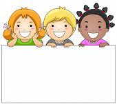 pic of happy kids  - Kids with a Blank Board against White Background - JPG