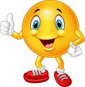 image of emoticons  - Vector illustration of Cartoon emoticon giving thumb up - JPG
