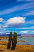 image of windy  - Yellow flat desert with shallow lakes - JPG