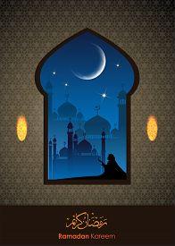 picture of ramadan mubarak card  - Ramadan greetings in Arabic script - JPG