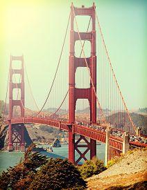 pic of gate  - Golden Gate Bridge with Instagram retro style filter - JPG
