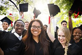 picture of graduation gown  - Diversity Students Graduation Success Celebration Concept - JPG