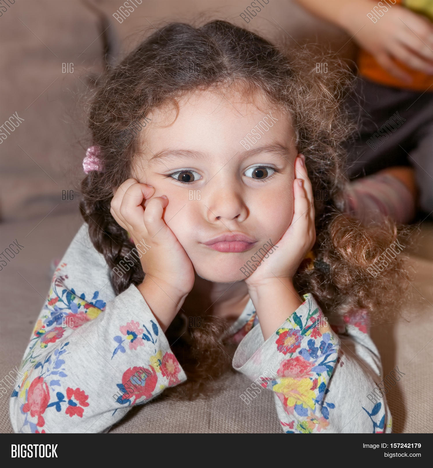 cute little girl curly hair brown image amp photo bigstock