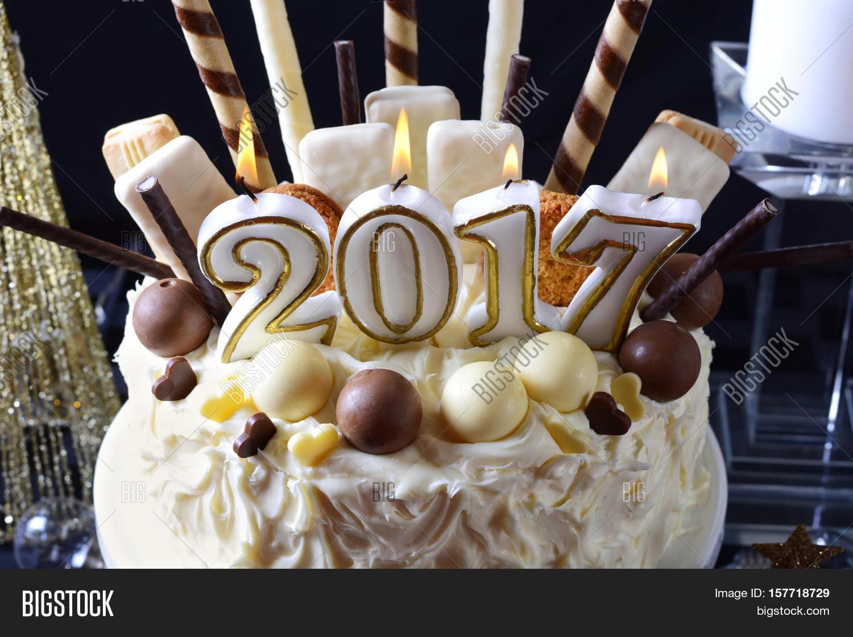 Happy New Year White Chocolate Cake Image & Photo | Bigstock