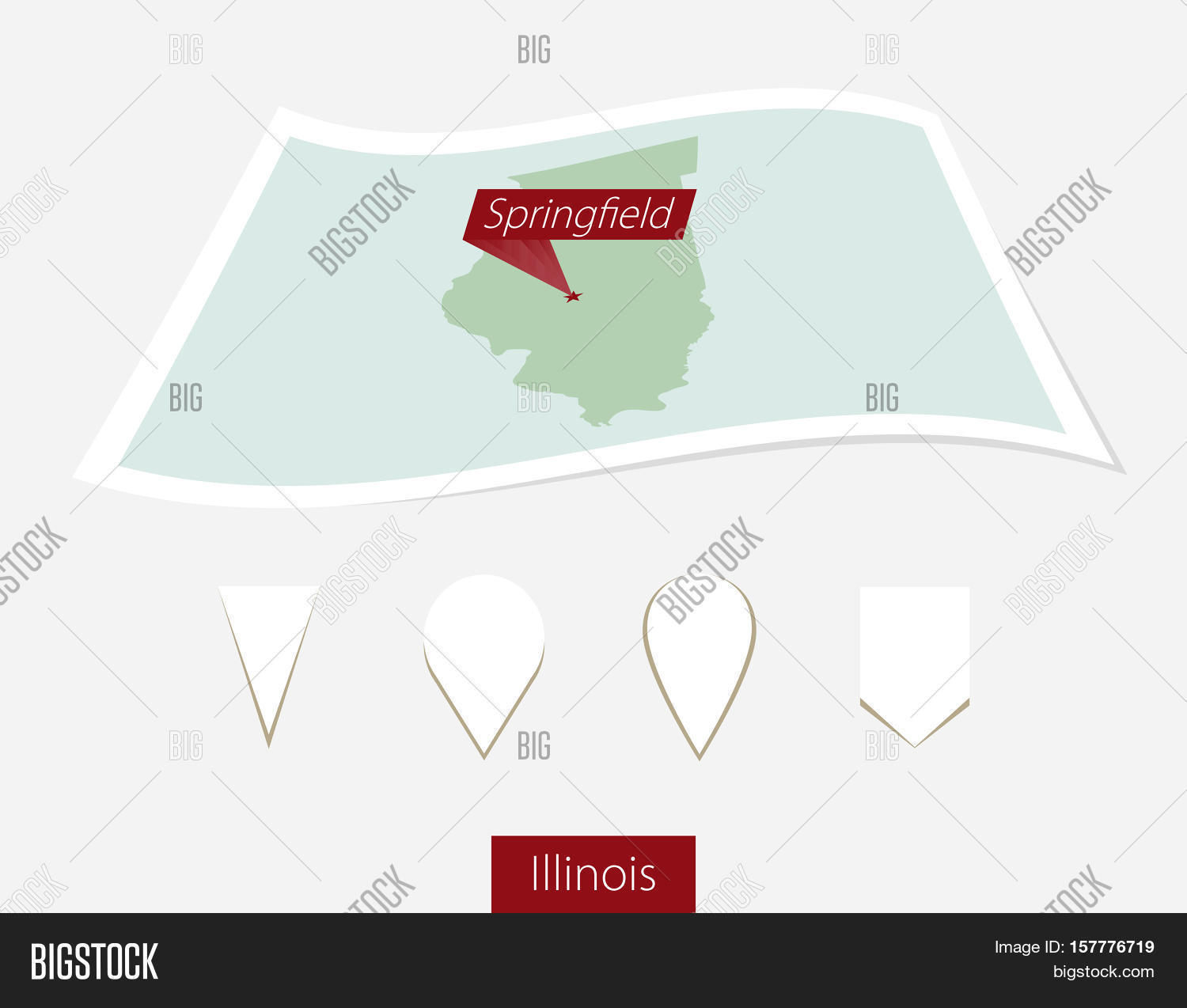 Curved Paper Map Of Illinois State With Capital Springfield On - Map of illinois with capital
