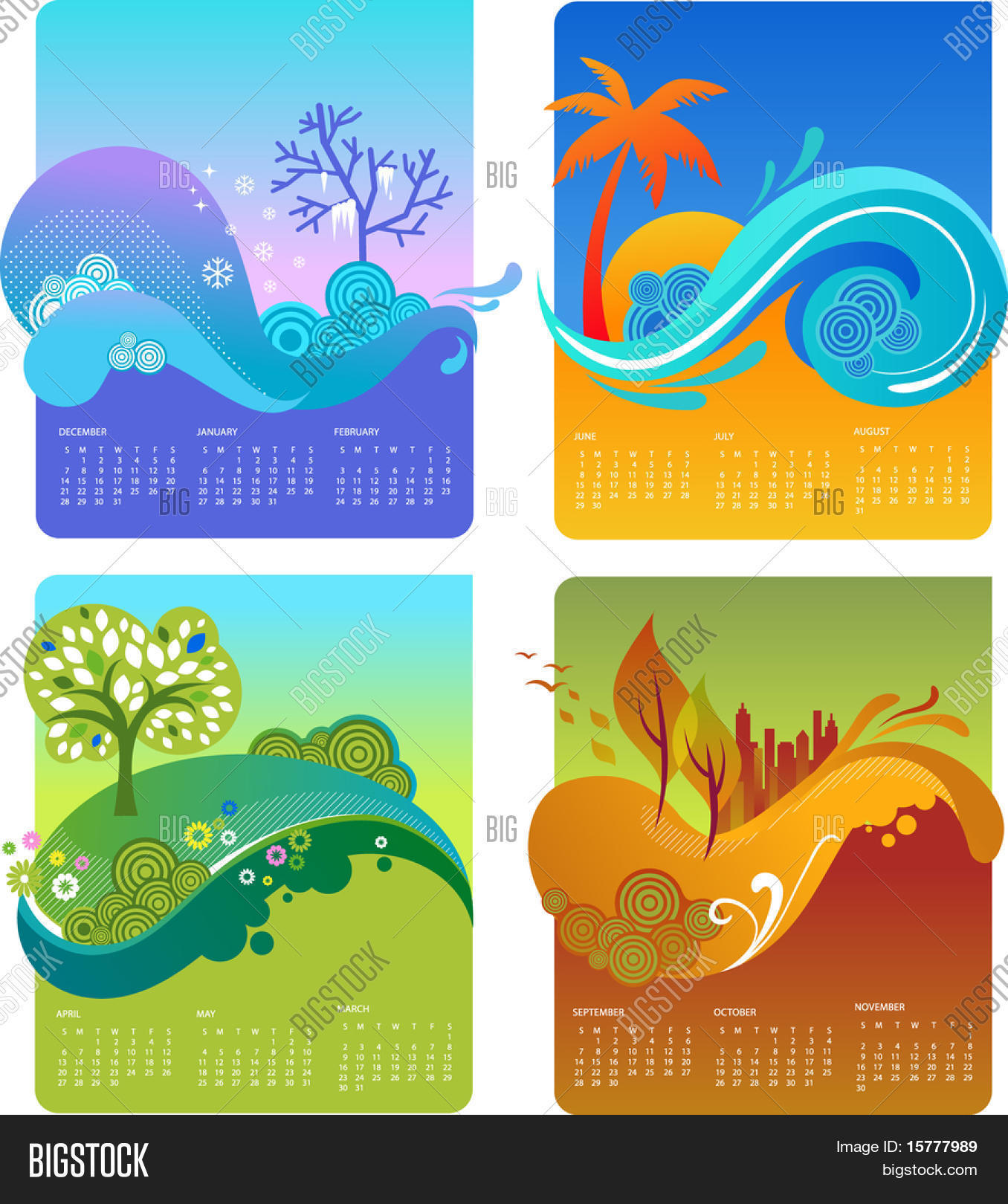 Template design calendar four vector photo bigstock for 4 seasons decoration