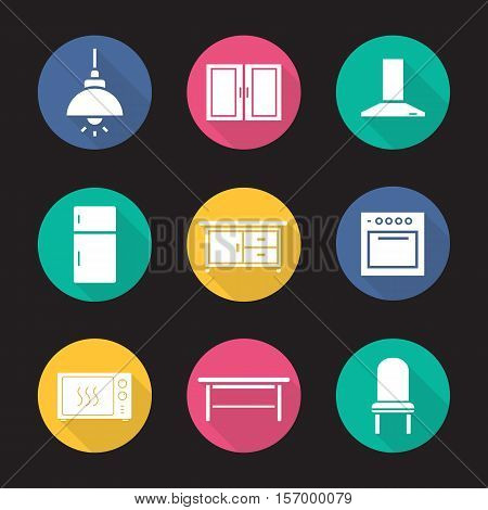 Kitchen interior flat design long shadow icons set. Ceiling lamp, cabinet, range hood, fridge, kitchen counter, stove, microwave oven, classic table and chair. Vector symbols