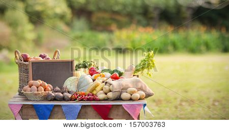 Focus shot of food with slate on table