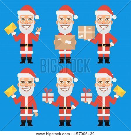 Vector Illustration, Santa Claus Holding Gift Package Letter, Format EPS 8
