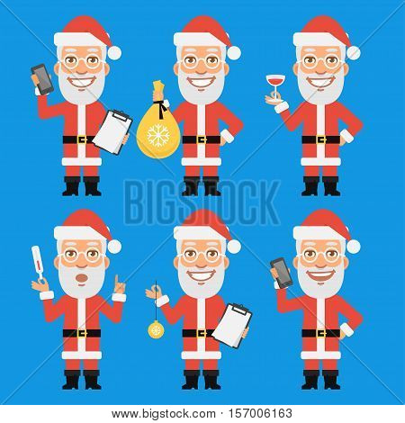 Vector Illustration, Santa Claus Holding Thermometer Bag Phone, Format EPS 8