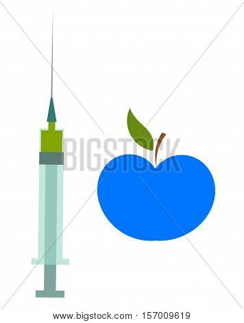 Genetically modified food concept. Blue apple and syringe illustration