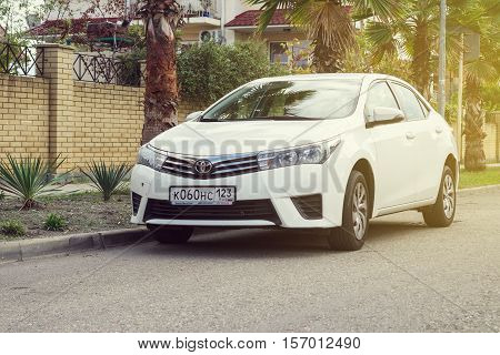 Sochi, Russia - October 11, 2016: Toyota Corolla parked on the street of Sochi City suburb. Introduced in 1966 the Corolla was the best-selling car worldwide by 1974 and has been one of the best-selling cars in the world since then.