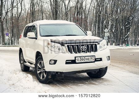 Smolensk, Russia - November 12, 2016: Toyota Land Cruiser parked in winter street.