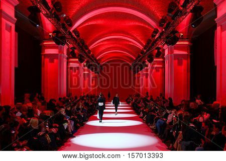 KYIV, UKRAINE - OCTOBER 13, 2016: Models walk the runway at Datuna collection show during the 39th Ukrainian Fashion Week at Mystetsky Arsenal in Kyiv