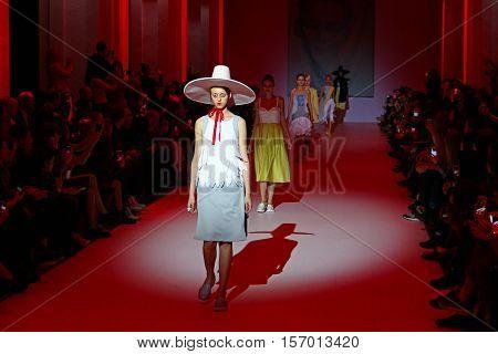 KYIV, UKRAINE - OCTOBER 13, 2016: Models walk the runway at Marina Rybalko collection show during the 39th Ukrainian Fashion Week at Mystetsky Arsenal in Kyiv