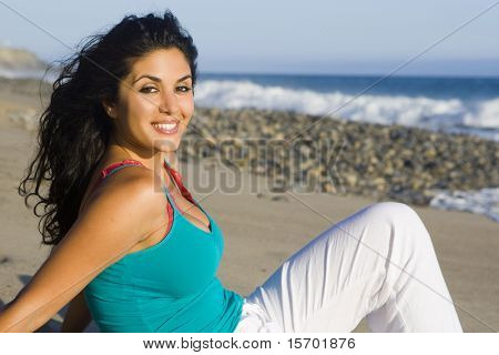 Pretty woman at the beach