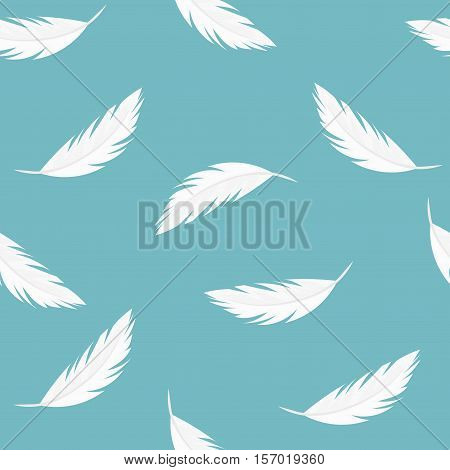 Falling feathers - seamless vector blue pattern