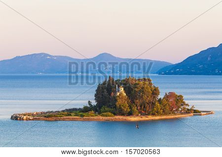 Monastery On Pontikonisi Island, Corfu, Greece
