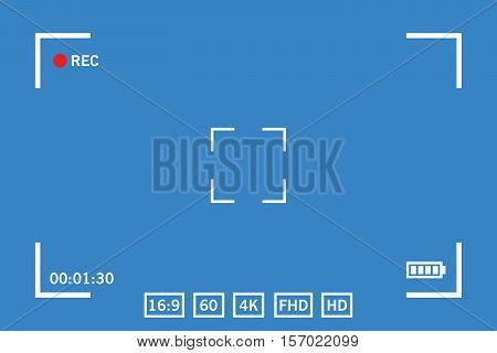 Modern digital video camera focusing screen isolated on blue background