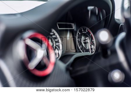 Romania, Brasov Sept 16, 2014 : Mercedes-Benz A 45 2014 AMG interior, test drive on Sept 16 2014 in Romania.
