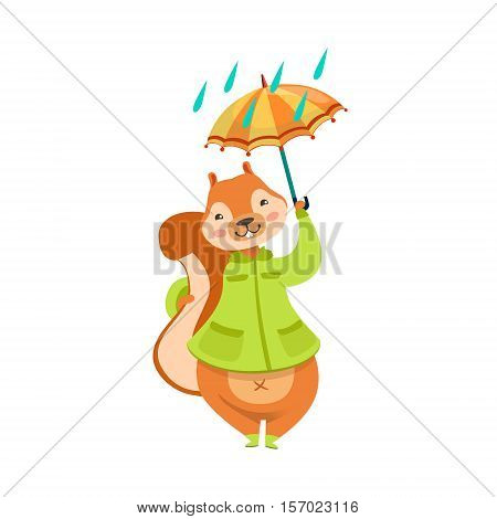 Red Squirrel In Autumn Coat With Umbrella Under The Rain Humanized Cartoon Cute Forest Animal Character Childish Illustration. Flat Vector Drawing With Woodland Fauna Animal In Funny Situation.