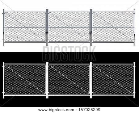Metal Wire Fence - Isolated A wire fence isolated on white. 3d Render with an alpha channel