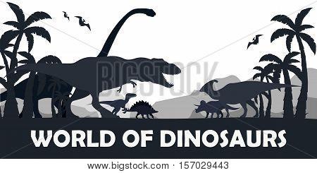 Set World Of Dinosaurs. Prehistoric World. T-rex, Diplodocus, Velociraptor, Parasaurolophus, Stegosa