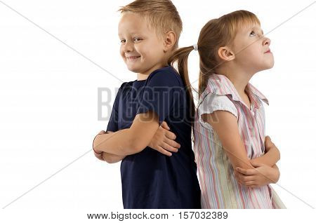 relationship between the children. Girl offended by the boy